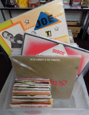 Box of mixed reggae and soul records