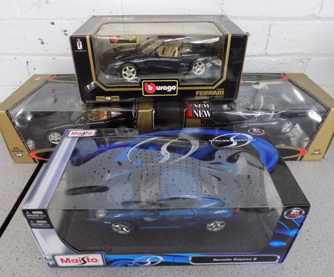 3x Burago diecast model cars with Maisto special edition model