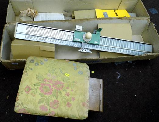 Vintage sewing box, contents and vintage knitting machine