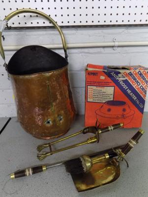 Large copper coal helmet with companion & boxed anti freeze heater