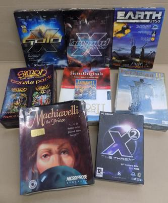 8x PC CD computer games - Mach, Avelli/ Patrician/ Earth etc.
