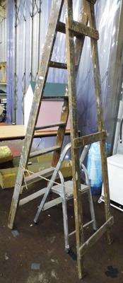 Aluminium step ladder & large wooden step ladders