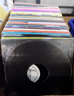 Large box of dance records
