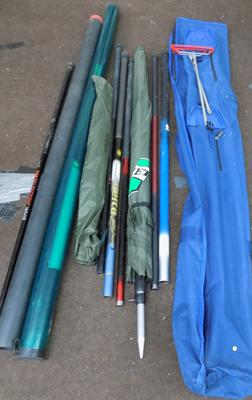 Dragon Match ram rods, telescopic & carp stalker 8 foot 2 pieces, Shakespeare combi wand 1882 + other rods plus accessories