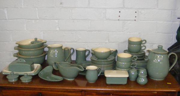 Large collection of teal green Denby cookware