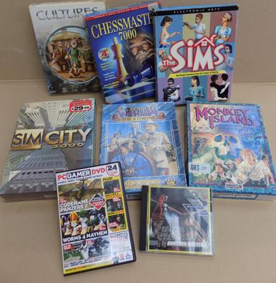8x PC CD computer games - Monkey Island/ Sims/ Cultures etc.
