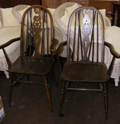 2x Oak wheel backed carver chairs