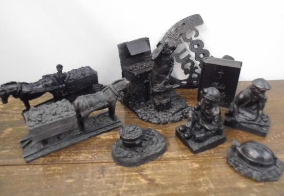 Collection of coal art (9 pieces)