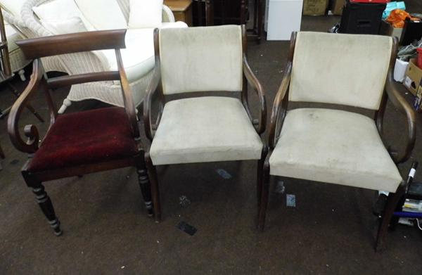 Pair of antique gillows pattern chairs + 1 other