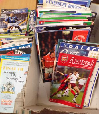 Large box of football programmes inc finals etc