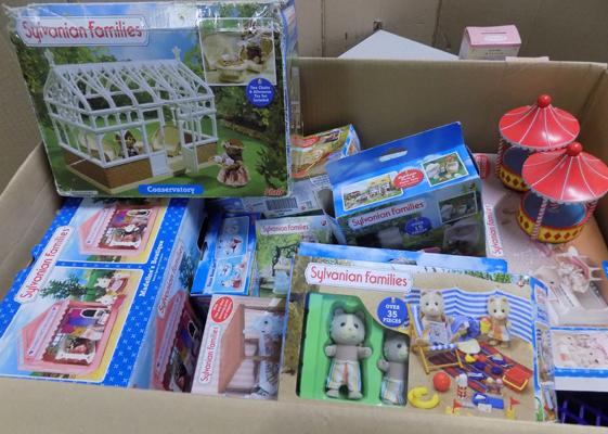 Large assortment of opened, unchecked Sylvanian families sets inc some figures