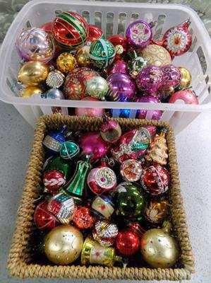 2x Baskets of Christmas baubles inc vintage glass etc