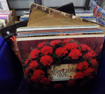 Large box of records inc Thin Lizzy, Stranglers, Led Zeppelin etc