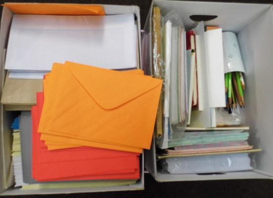 2x Boxes of arts & crafts items inc coloured envelopes etc