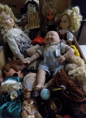 Large selection of vintage dolls and soft toys