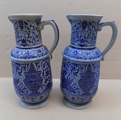 "Pair of large ceramic jugs with markings - 13"" high"
