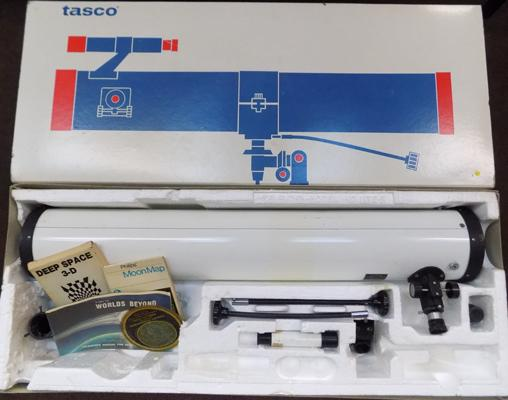 Boxed Tasco IIT 300x telescope with attachments & paperwork