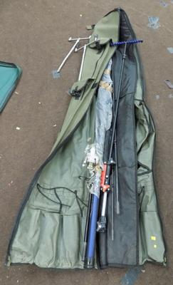Bag of fishing rods, reels, various sizes & rod stands