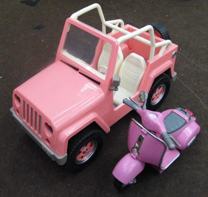 Toy car & Barbie scooter
