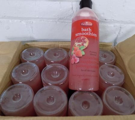 Box of 12 bath smoothies strawberry & pomegranate 400ml