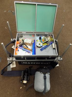 Tackle box with octopus feet Kingfisher 1000x and reel mummy sleeping bag + more