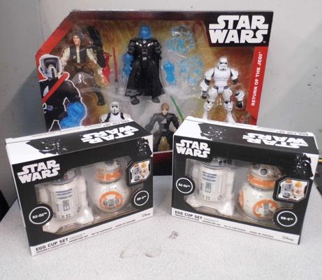 Star Wars-Return of the Jedi boxed action figures + 2x Star Wars egg cup sets