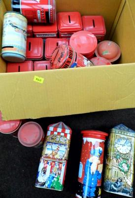 Box of mixed tins & moneyboxes (mainly post boxes)