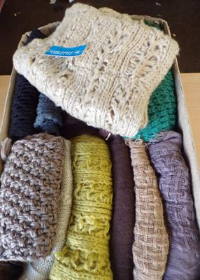 Box of 12 assorted scarves