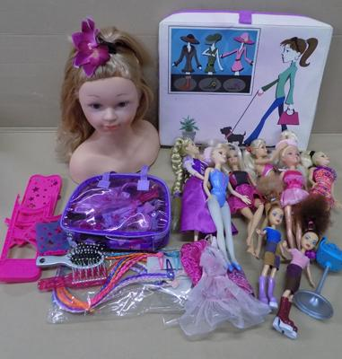 Selection of Barbie dolls, Disney store Rapunzel and ELC hair styling doll and accessories