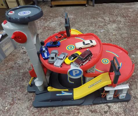 Fisher Price garage & selection of diecast cars