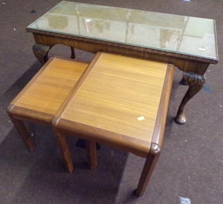 Rectangular glass topped side table + 2 table nest