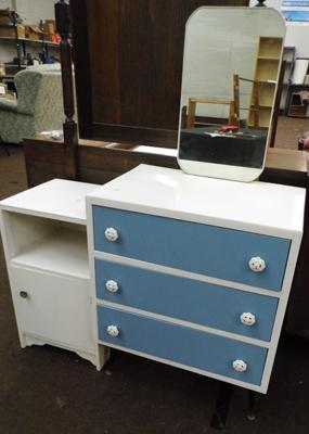 Retro painted mirrored drawers and bedside cabinet