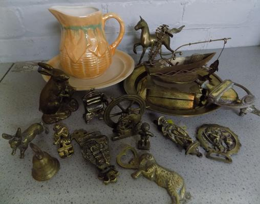 Collection of brass items with ceramic jug and plate