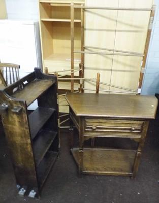 Vintage oak hall table with drawer, bookshelf & 2x clothes horses