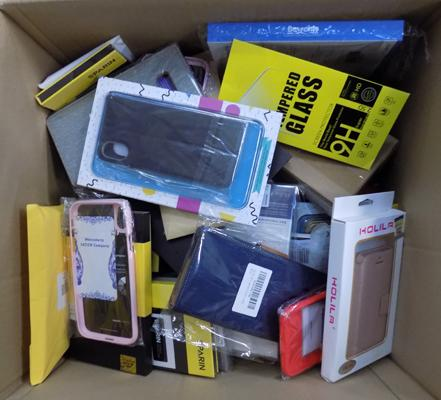 Box of 70 assorted phone cases & screen protectors