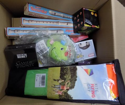 Box of assorted new toys & games