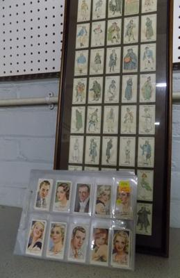 40x Pages of mixed cigarette cards and framed cigarette cards