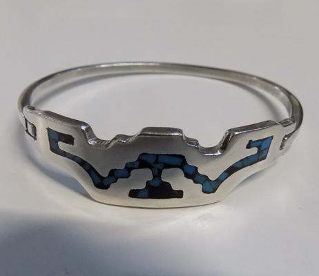Mexico 925 silver & turquoise mosaic design bangle in leatherette box