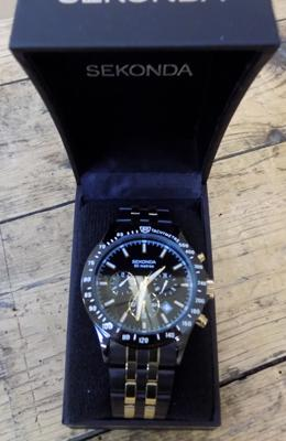 Sekonda watch with black steel case & fitted quartz monograph movement with box & guarantee