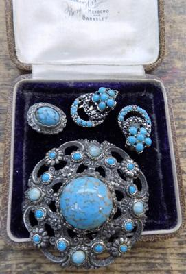 Collection of antique jewellery with turquoise & marcasite