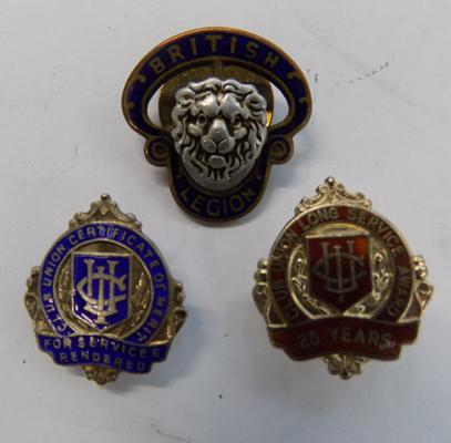 Two silver union badges + brass British badge