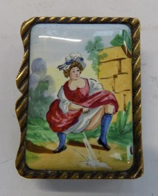 Victorian French risque enameled vesta