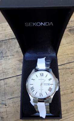 Sekonda stainless steel with silver/white dial watch with box & guarantee