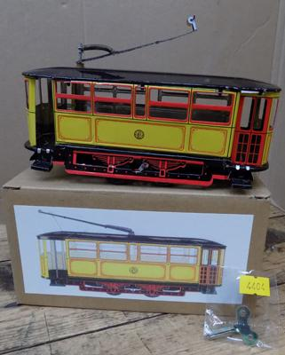 Tin plate wind-up yellow tram