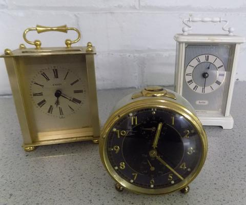 Two carriage clocks + alarm clock