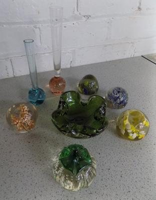 Collection of mid-century art glass, incl. peperweights