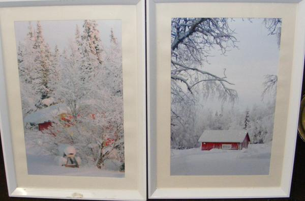 Two framed glittering snow prints