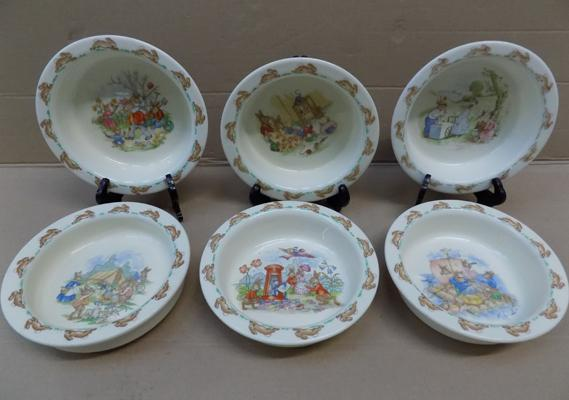 Set of 6 Royal Doulton bowls, Bunnykins from 1936 - good condition