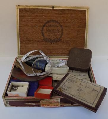 Old cigar box filled with vintage jewellery & watch maker/repair items