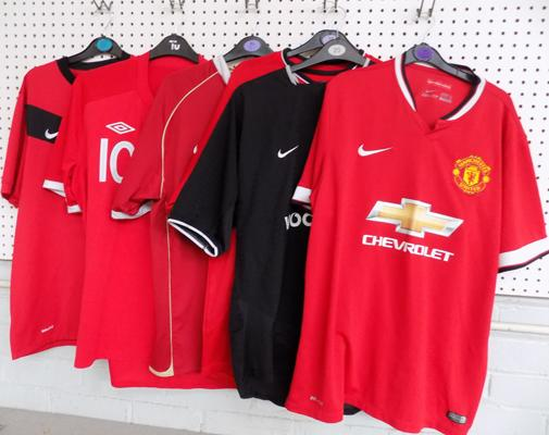 6x Old football shirts incl. Manchester United, England, Rooney etc.